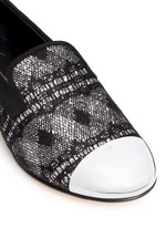 'Dalila' metal toe lace glitter loafers