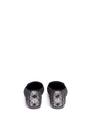 Back View - Click To Enlarge - Giuseppe Zanotti Design - 'Dalila' metal toe lace glitter loafers