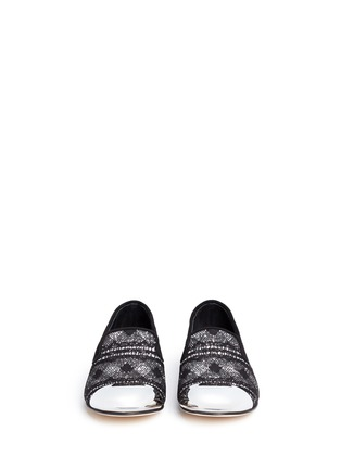 Front View - Click To Enlarge - Giuseppe Zanotti Design - 'Dalila' metal toe lace glitter loafers
