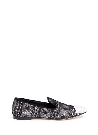 Main View - Click To Enlarge - Giuseppe Zanotti Design - 'Dalila' metal toe lace glitter loafers