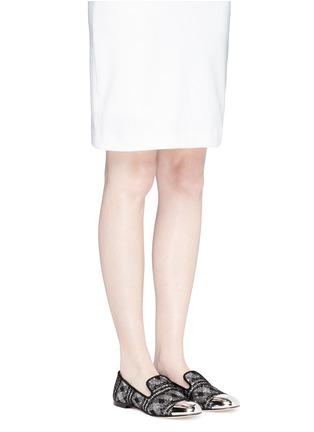 Figure View - Click To Enlarge - Giuseppe Zanotti Design - 'Dalila' metal toe lace glitter loafers