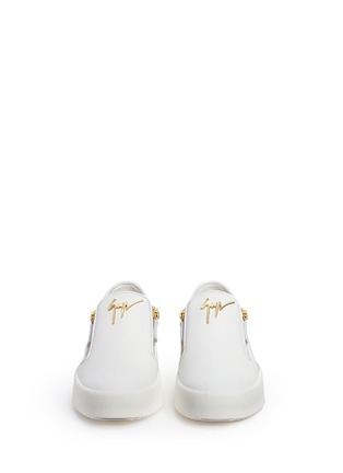 Front View - Click To Enlarge - Giuseppe Zanotti Design - 'May London' logo leather skate slip-ons