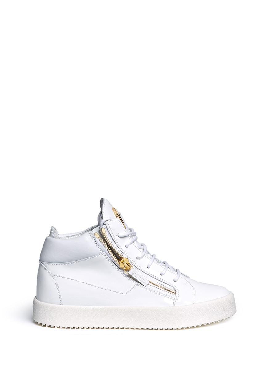 May London zipped patent leather high top sneakers by Giuseppe Zanotti Design