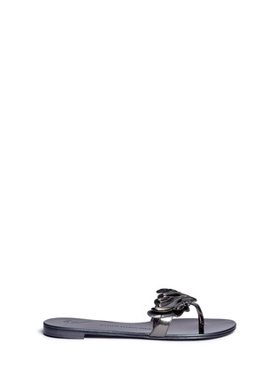 Main View - Click To Enlarge - Giuseppe Zanotti Design - 'Rock' mirror leather slide sandals