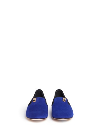 正面 -点击放大 - GIUSEPPE ZANOTTI DESIGN - Dalila猫头鹰缀饰绒面皮平底便鞋