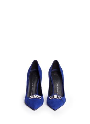 正面 -点击放大 - GIUSEPPE ZANOTTI DESIGN - Lucrezia仿水晶装饰绒面皮高跟鞋