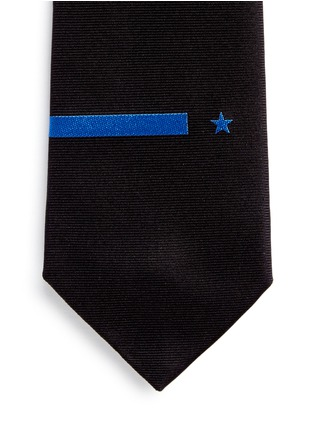Givenchy-Star and bar embroidery silk tie