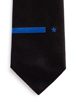 Star and bar embroidery silk tie