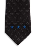 Contrast star embroidery silk tie