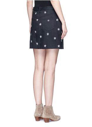 Back View - Click To Enlarge - Saint Laurent - Sequin star embellished denim skirt