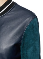 'Alix' colourblock leather suede bomber jacket