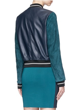 Back View - Click To Enlarge - rag & bone - 'Alix' colourblock leather suede bomber jacket