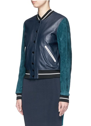 Front View - Click To Enlarge - rag & bone - 'Alix' colourblock leather suede bomber jacket
