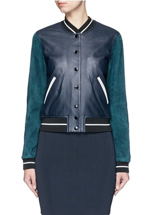 Main View - Click To Enlarge - rag & bone - 'Alix' colourblock leather suede bomber jacket