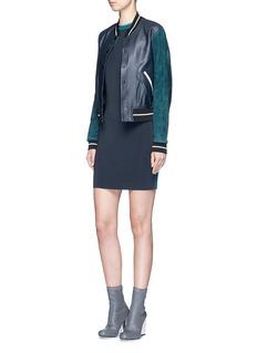 RAG & BONE'Alix' colourblock leather suede bomber jacket