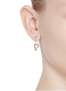 Stephen Webster 'Neon Heart and Kiss' 18k yellow gold asymmetric earrings