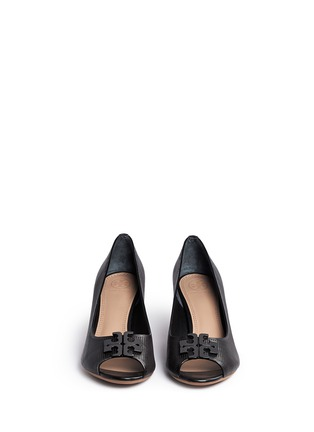 Front View - Click To Enlarge - Tory Burch - 'Lowell' perforated leather wedge pumps
