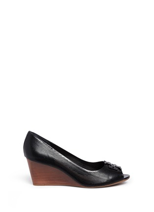 Main View - Click To Enlarge - Tory Burch - 'Lowell' perforated leather wedge pumps