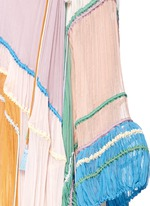 Rainbow silk crépon tassel drawstring poncho dress