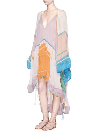 Chloé - Rainbow silk crépon tassel drawstring poncho dress