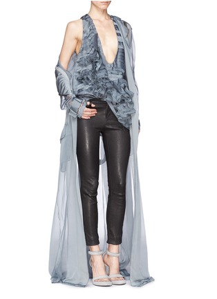 Detail View - Click To Enlarge - Haider Ackermann - Ruffle floral silk organza chiffon top