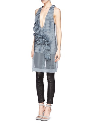 Front View - Click To Enlarge - Haider Ackermann - Ruffle floral silk organza chiffon top
