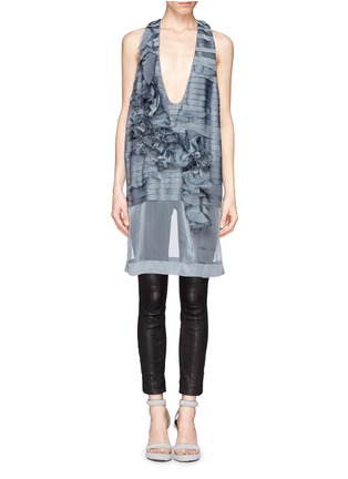 Main View - Click To Enlarge - Haider Ackermann - Ruffle floral silk organza chiffon top