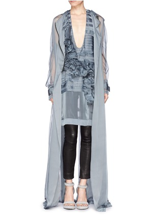 Figure View - Click To Enlarge - Haider Ackermann - Ruffle floral silk organza chiffon top