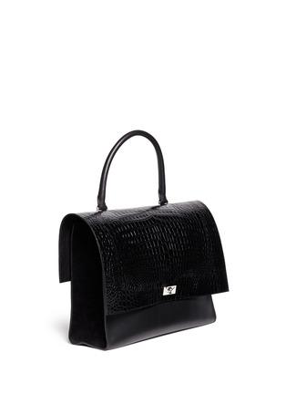 模特儿示范图 - 点击放大 - GIVENCHY - 'Shark' large croc-effect leather flap bag