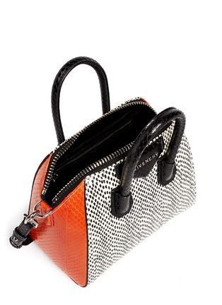 Detail View - Click To Enlarge - Givenchy - 'Antigona' mini snakeskin bag