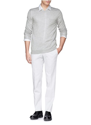 模特儿示范图 - 点击放大 - FAÇONNABLE - Pocket silk-cashmere sweater