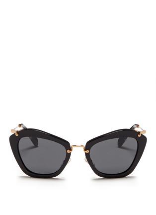 Main View - Click To Enlarge - miu miu - 'Noir' cat eye acetate sunglasses