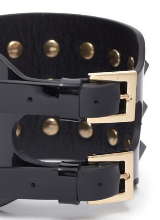 Detail View - Click To Enlarge - Valentino - 'Rockstud' wide patent leather bracelet