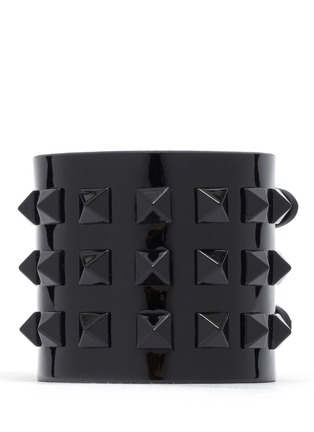 Main View - Click To Enlarge - Valentino - 'Rockstud' wide patent leather bracelet