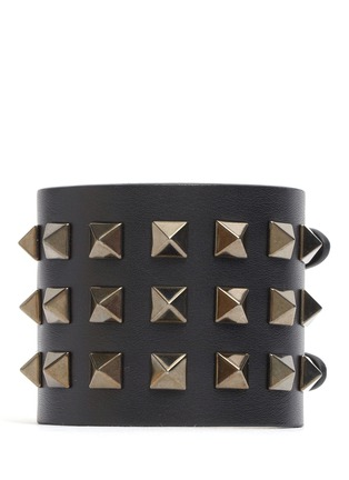 Main View - Click To Enlarge - Valentino - 'Rockstud Noir' wide leather bracelet