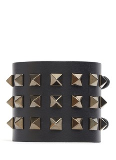 VALENTINO Rockstud Noir wide leather bracelet