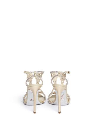 Back View - Click To Enlarge - René Caovilla - Leaf paillette crystal satin strap sandals