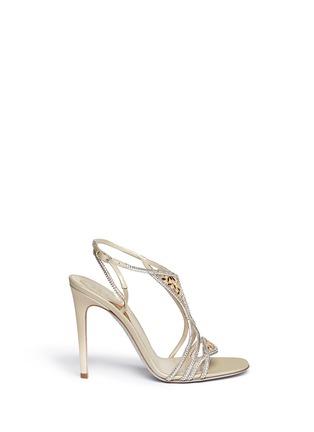Main View - Click To Enlarge - René Caovilla - Leaf paillette crystal satin strap sandals