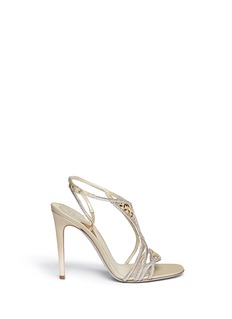 RENÉ CAOVILLA Leaf paillette crystal satin strap sandals