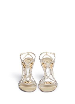 Figure View - Click To Enlarge - René Caovilla - Leaf paillette crystal satin strap sandals