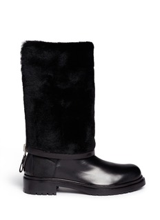 SERGIO ROSSI Shearling lining zip leather boots
