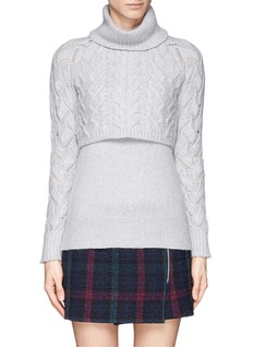 ELIZABETH AND JAMES Cable knit overlay turtleneck sweater
