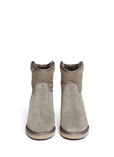 ASH 'Yakoo' suede shearling wedge boots