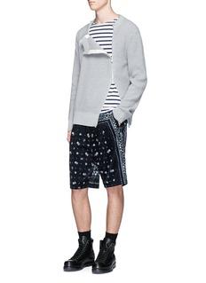 SacaiDouble zip front waffle sweater
