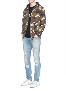 Palm Angels Camouflage print maxi puller zip hoodie