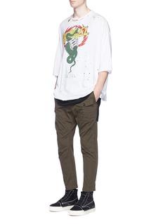 Ben Taverniti Unravel Project Oversized snake print distressed T-shirt