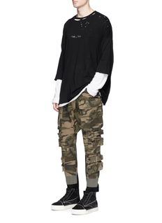 Ben Taverniti Unravel Project Camouflage print strap parachute jogging pants