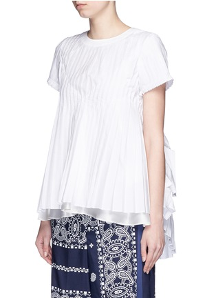 Front View - Click To Enlarge - Sacai - Ruffle back accordion pleat T-shirt