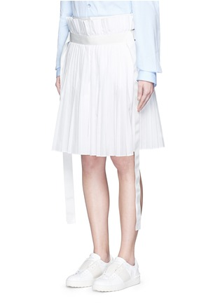 Front View - Click To Enlarge - Sacai - Paperbag waist pleat poplin long shorts