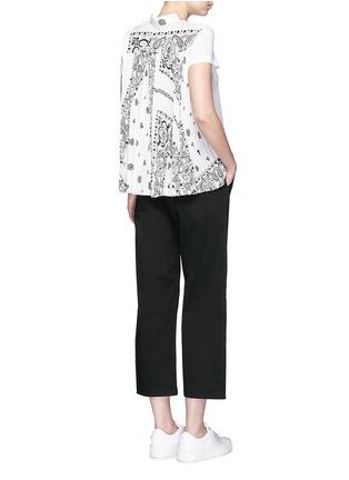 Sacai-Bandana print pleat back linen T-shirt